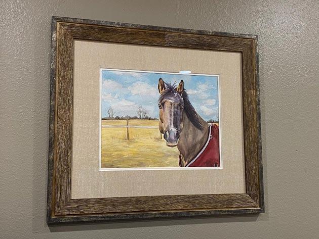framed horse painting